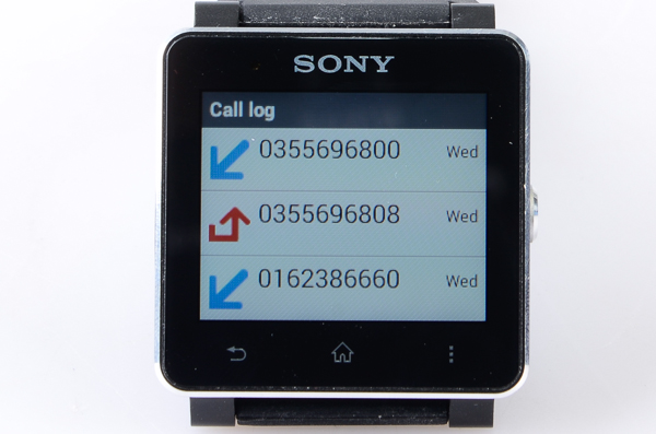 You can quickly see your call log on the SmartWatch 2.