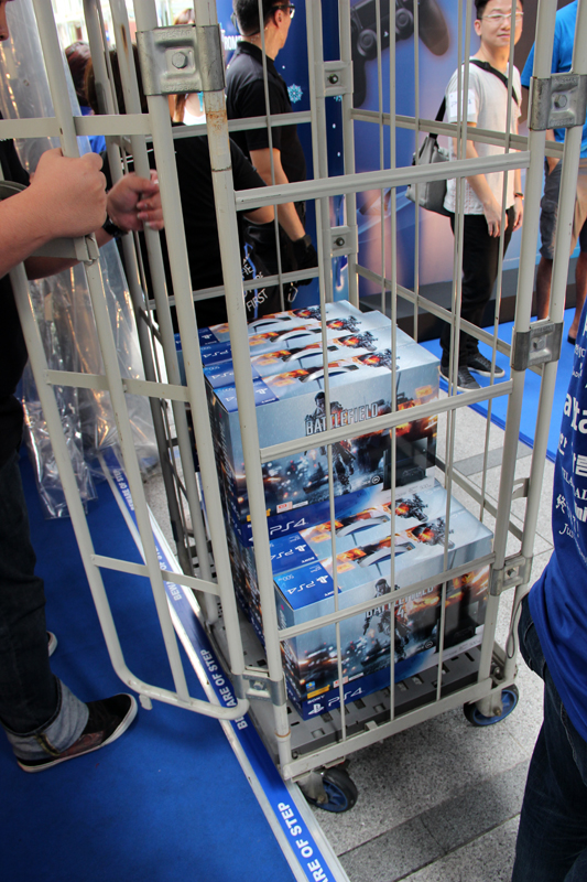 A shipment of Battlefield 4 bundle PS4s arriving in their cage.