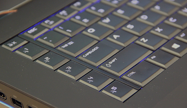 The Alienware 18 keyboard features macro keys, but the position could be better as we found ourselves inadvertently hitting it instead of Control.