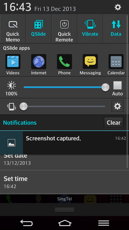 The G Flex's pulldown notification menu is a bit busy, and it's not that easy to actually read your notifications at a glance, but there are lots of options that can be accessed from here.