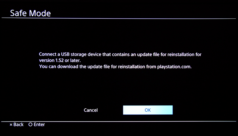 It will then ask you to connect a USB storage device with an update file for reinstallation (even if you already have your thumbdrive already connected). Select OK.