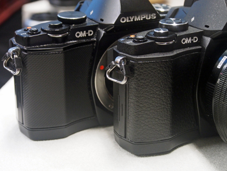 The new OM-D E-M5 Pro Kit (right) sports a leather-like design on the grip.