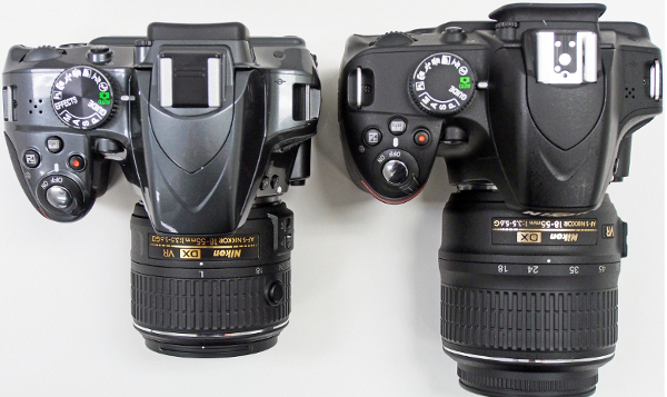 Not much has changed on the top except the speaker on the D3200 (right) has been shifted to the other side on the D3300 (left).