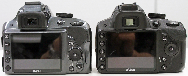 The buttons on the D3300's rear (left) have remained the same as the D3200 (right), with some buttons have been shifted around. There's also a larger, more comfortable thumb rest on the D3300.