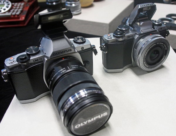 The E-M10 (right) and E-M5 (left) will seem identical to most at a passing glance, unless they are put together side by side.