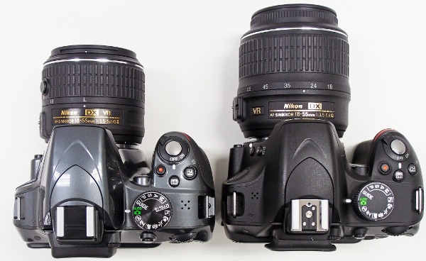 The retractable kit lens is much smaller than the older model (right)