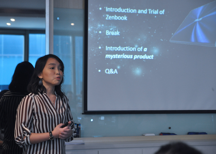 Lynn Goh, ASUS' marketing specialist giving attendees a brief on what they can expect from the session. Oh and the mysterious product was the ASUS Transformer Book Trio - a versatile, two-in-one notebook.