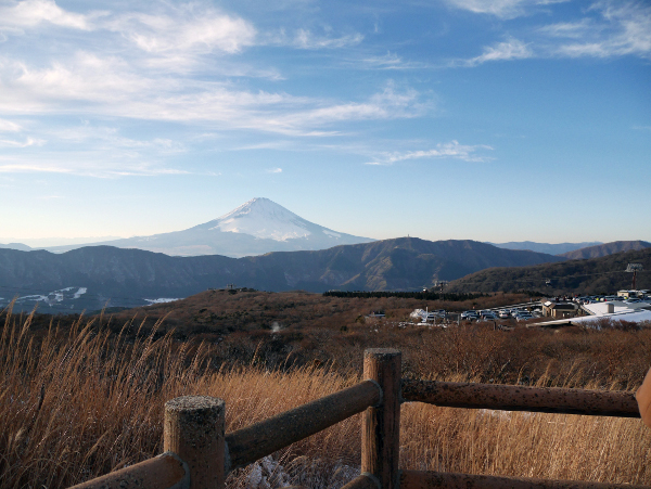 Up the mountainside with Mount Fuji in the distance (Panasonic GX7)