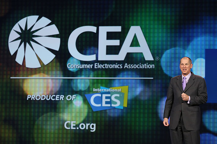Mr. Gary Shapiro, CEA's President and CEO, introduces the Intel keynote address at the 2014 CES. (Image source: CEA.)