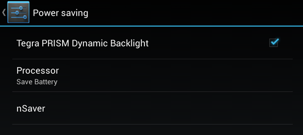 Tegra PRISM Dynamic Backlight is one of the power-saving features you can enable on the HP Slate 7 Extreme.