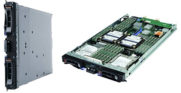 The IBM BladeCenter HS23 x86 server. (Image Source: IBM)