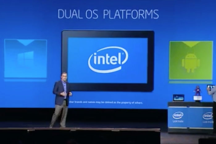 When one OS isn't enough. (Image source: Intel CES 2014 keynote.)