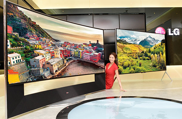 The LG 105UC9 (left) and 98UB9800 (right) 4K LCD TVs. (Image source: LG.)