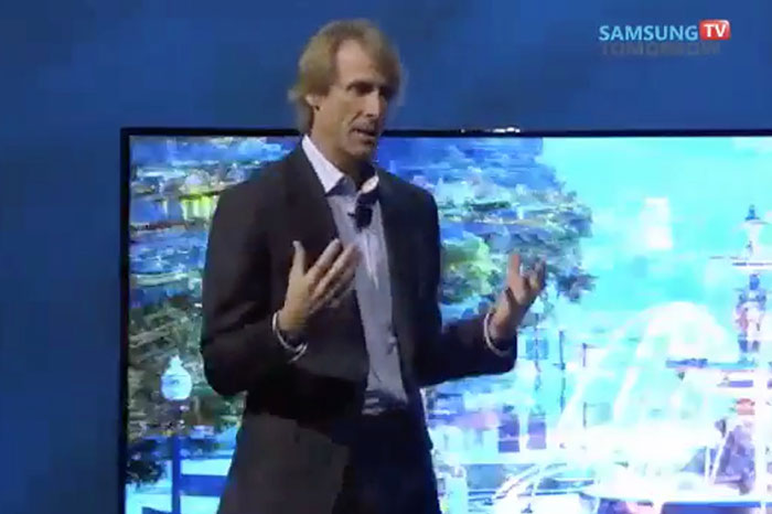 Teleprompter issues forced 'Transformers' director Michael Bay to walk off the stage during Samsung's CES 2014 keynote. (Image source: Joshua-Kim Campion's YouTube channel.)