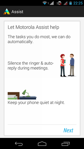 Motorola Assist provides a set of automations on the Moto G for a variety of tasks such as:
