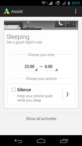 E.g.: You can set Assist to silence the phone before your bedtime every night., and if you wish, set it to accept calls from your starred favorites.