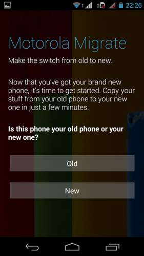 You decide which phone is the new or old to transfer the data.