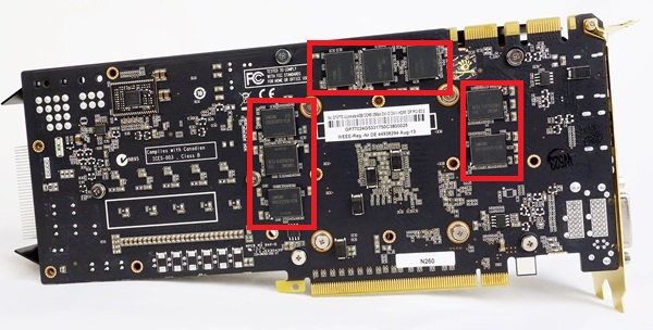 There isn't a metal backplate attached to the rear of the card.