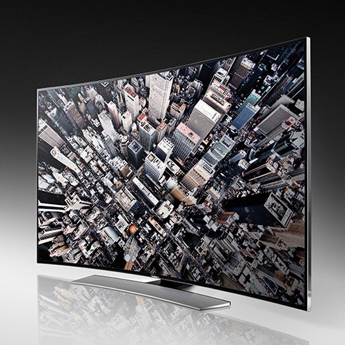 Samsung's 4K UHD U9000 series has a curved panel, and comes in 55, 65, and 78-inch screen sizes.