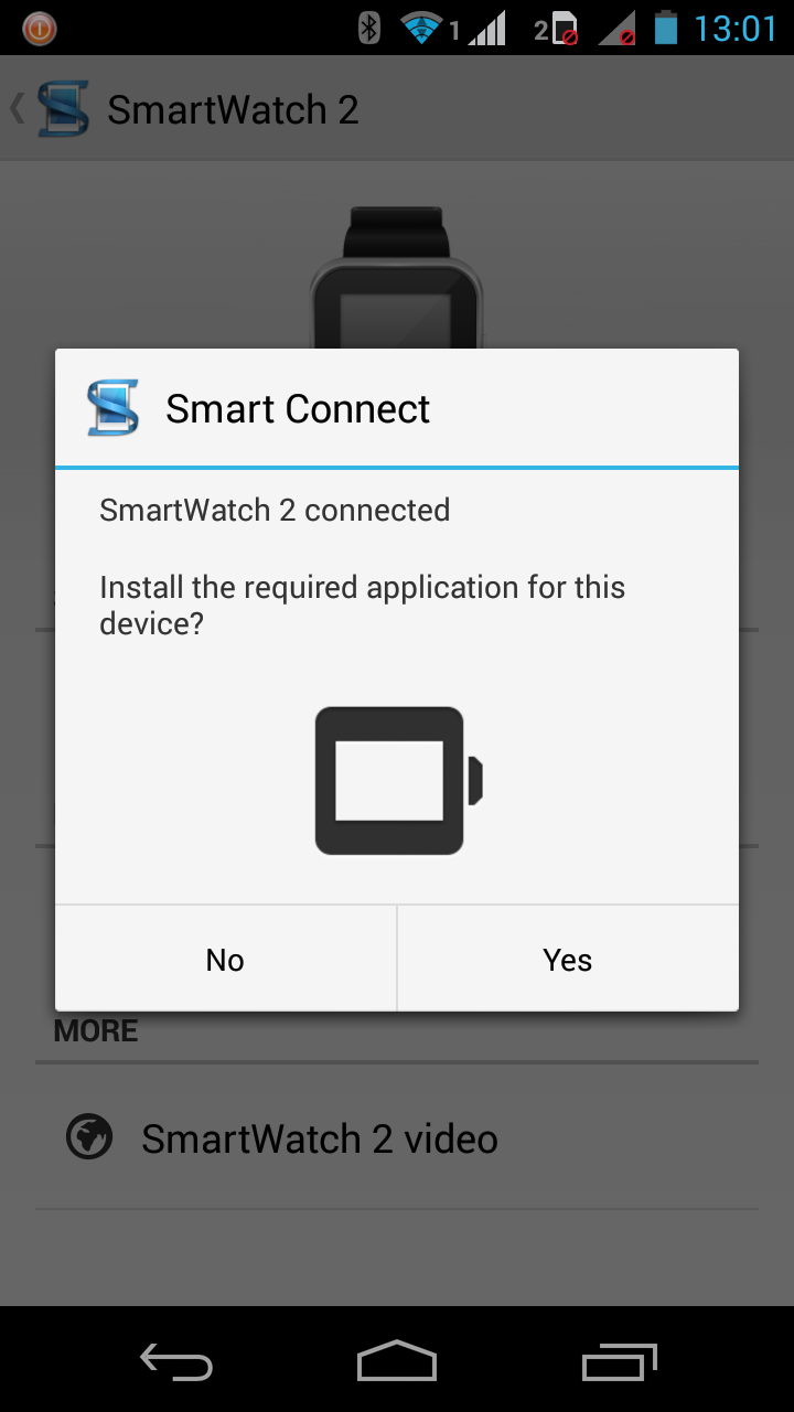 You will be prompted to download the Smart Watch 2 app after pairing the smart watch with the Smart Connect app.