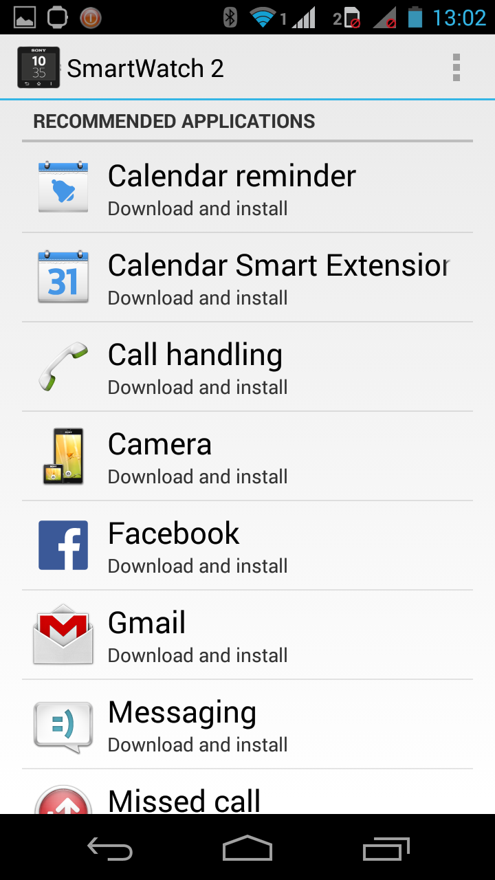 By default, the Smart Watch 2 app recommends you these apps and extensions to download.