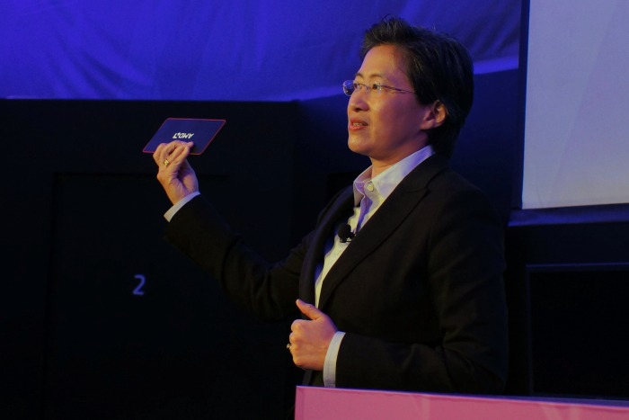 Dr.Lisa Su, senior vice president and general manager of AMD's global business units, showed off the compute possibilities of the company's upcoming Mullins APU sandwiched into a nano PC form factor that's no larger than a phablet.