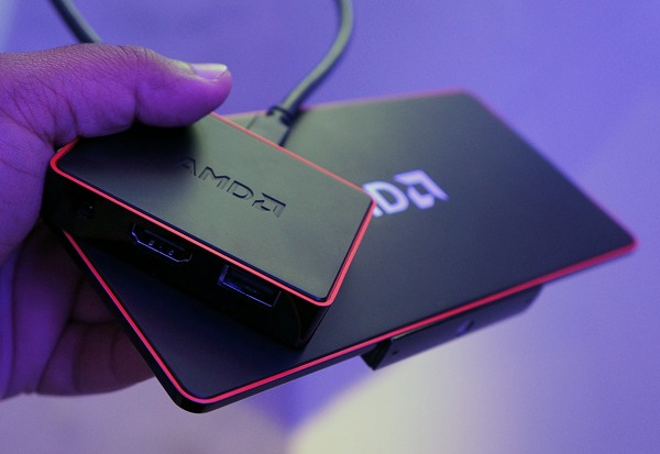 Using AMD's DockPort technology that uses DisplayPort cables and connectors to carry video, data and power interfaces into a single connector, the accompanying DockPort breakout box offers HDMI and USB 3.0 connectivity.