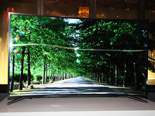The Samsung bendable TV prototype on display at a closed door event on the eve of CES 2014.