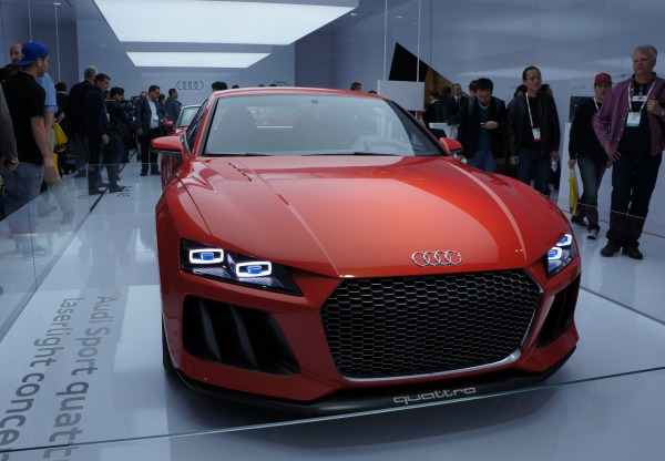 Audi was showing off its laser headlight technology in the form of this Sport Quattro Laserlight concept car. Apparently, it uses LEDs for the low beams and laser diodes for high beams, which Audi says can illuminate the road with three times the brightness of LEDs. This helps illuminate the roads ahead to far greater distances than before.