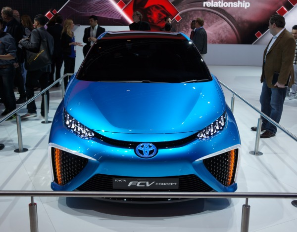 Meet the car of the future - the Toyota FCV Concept car is a hydrogen fuel cell car whose byproduct emission is water vapor.
