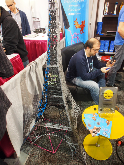 The guys at the 3Doodler booth doodled this 2m replica of the Eiffel Tower!