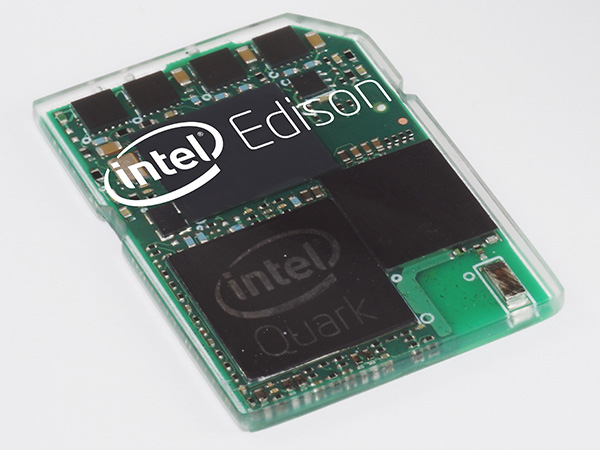 Intel Edison development board in the size of a tiny SD card sized housing.