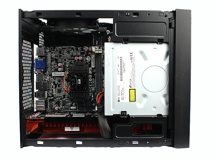 Here's a top down view of our casing with all the components installed. We've used an AMD Brazos equipped motherboard that has the APU onboard, including its cooler. Note that the dual-layer design of the chassis means the motherboard side of things stays relatively clutter free.