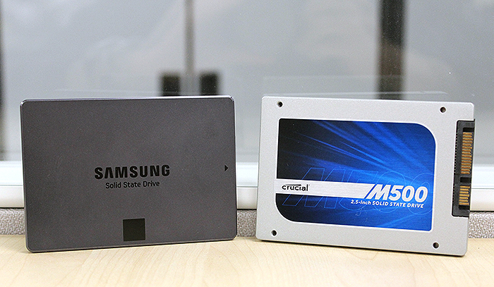 The Crucial M500 and Samsung SSD 840 EVO are two of the most popular mainstream SSDs in the market right now.
