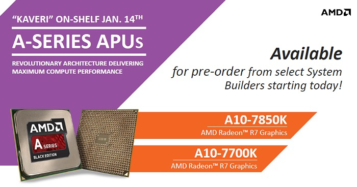 AMD plans to have the desktop Kaveri APUs and systems available in retail shelves by 14 Jan.