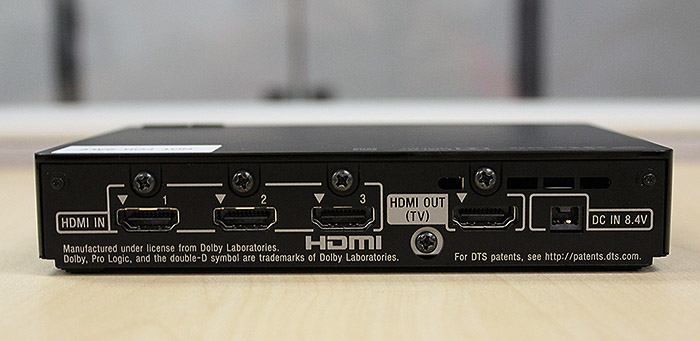 Behind the processor unit are three HDMI input ports and a HDMI output port that allows it to act as a pass-through.