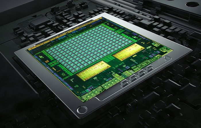 A die shot of the 64-bit Project Denver CPU infused Tegra K1. Unlike the 32-bit quad-core variant, the 64-bit version will feature dual main processing cores. Both editions will still sport the 192-core Kepler GPU though.