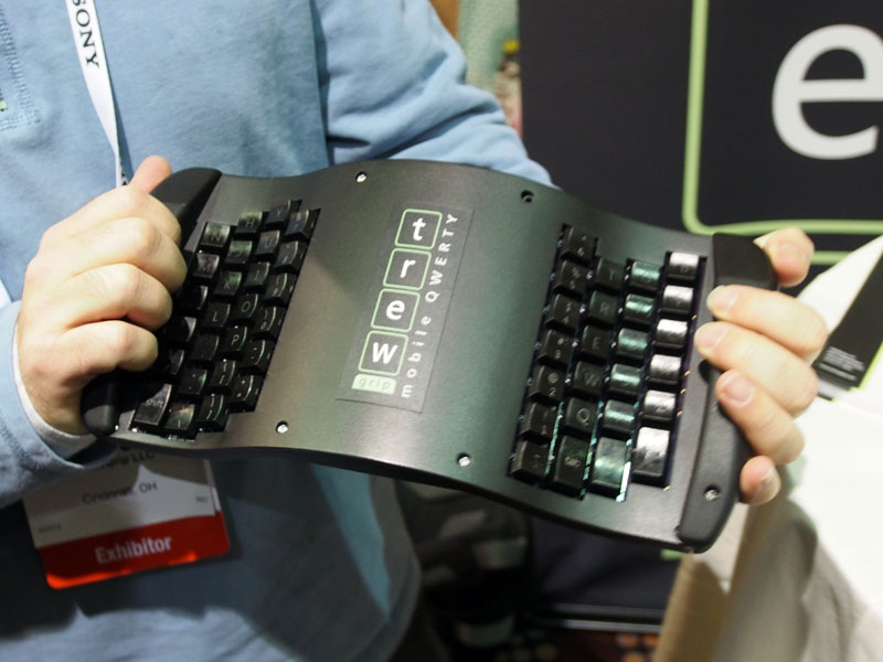 The underside of the TREW grip keyboard has a full set of mechanical keys.