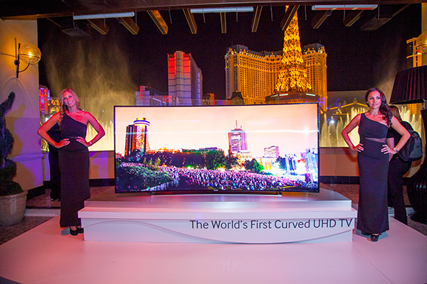 Samsung's latest 105-inch curved-screen UHD TV that comes in a unique 21:9 aspect ratio.