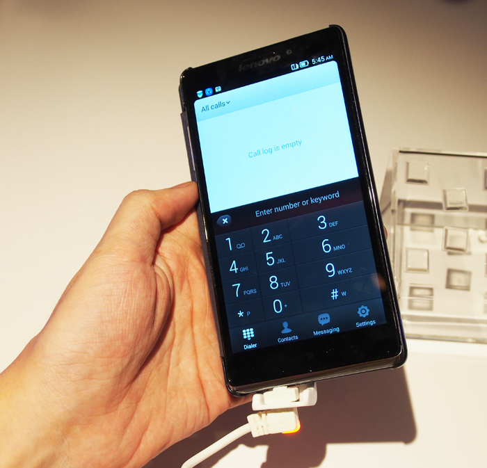 Lenovo has added a few nice software additions that help to improve handling - such as the smart dialer that enlarges the far keys when the phone is tilted.