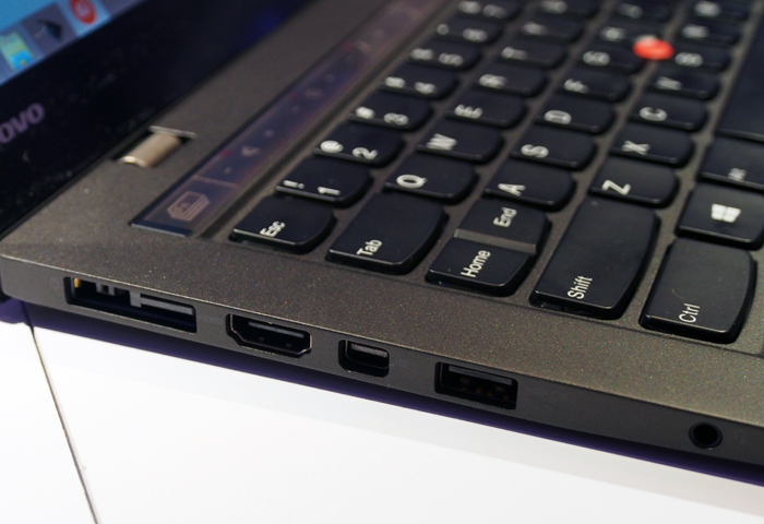 Most of the X1 Carbon's ports are found on the left-side. Another USB port and the proprietary hardwired Ethernet port can be found on the right-side