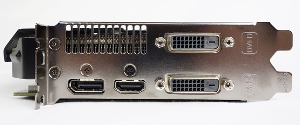 There is a pair of dual-link DVI-D connectors, a DisplayPort port, and a HDMI interface.