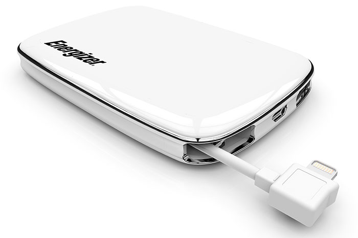 Battery packs with a built-in charging cable (like this Energizer XP3000A with a built-in Lightning cable pictured here) are great for absent-minded people. (Image source: Energizer.)