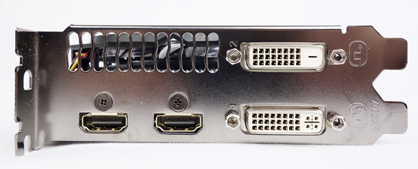 There are a pair of HDMI ports, and two dual-link DVI connectors; one is DVI-D, and the other is DVI-I.