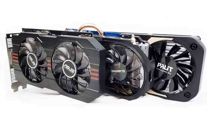 The overclocked versions of the NVIDIA GeForce GTX 750 Ti cards from ASUS, Gigabyte and Palit respectively.