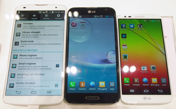 From left to right: LG G Pro 2, LG Optimus G Pro and the G2. All three devices sport very slim bezels.