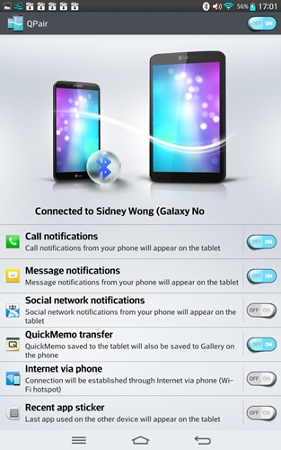 You can decide what notifications to show on the G Tablet 8.3 via the QPair settings.