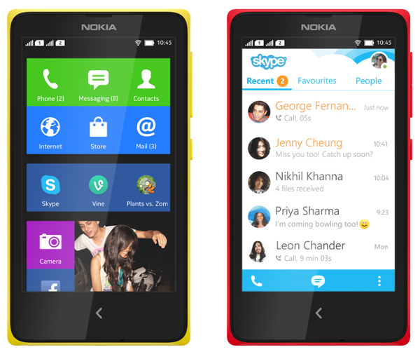 Nokia X Homescreen, Nokia X with Skype.