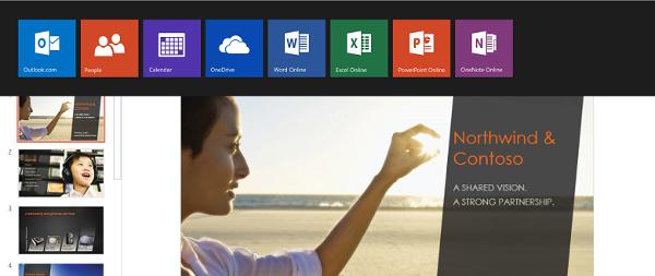 App Switcher in Office Online.
