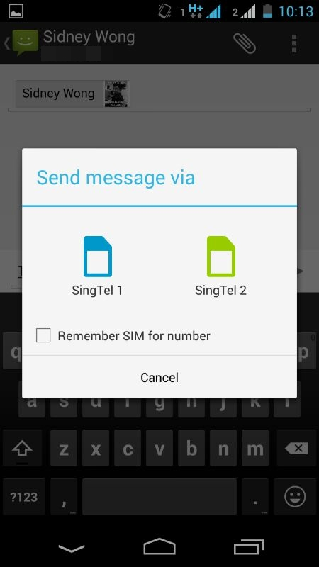 A pop-up menu will appear when you set the option to select which SIM card to use. MIUI's implementation is slightly more convenient.